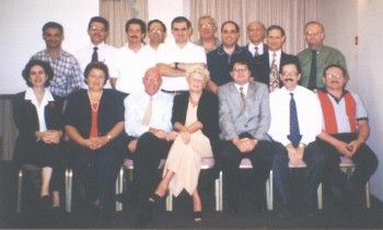Figure 6: Participants in the Transhis introductory workshop held in 1998, with facilitators Prof. Henk Lamberts & Dr Inge Okkes and organiser Dr Jean Karl Soler (sitting third, fourth and fifth from left)